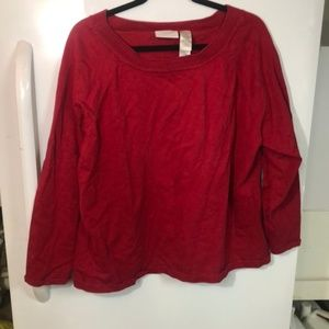 Liz Claiborne 3x cotton red long sleeve top